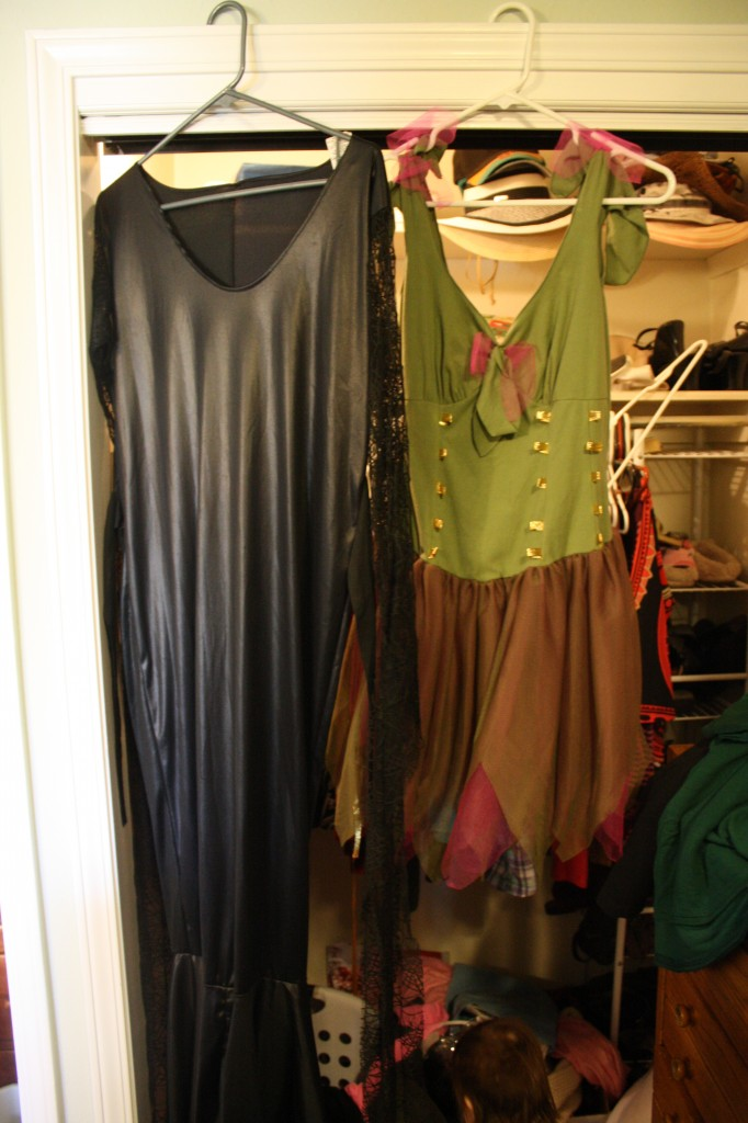 Those would be my Morticia and Fairy costumes, respectively.