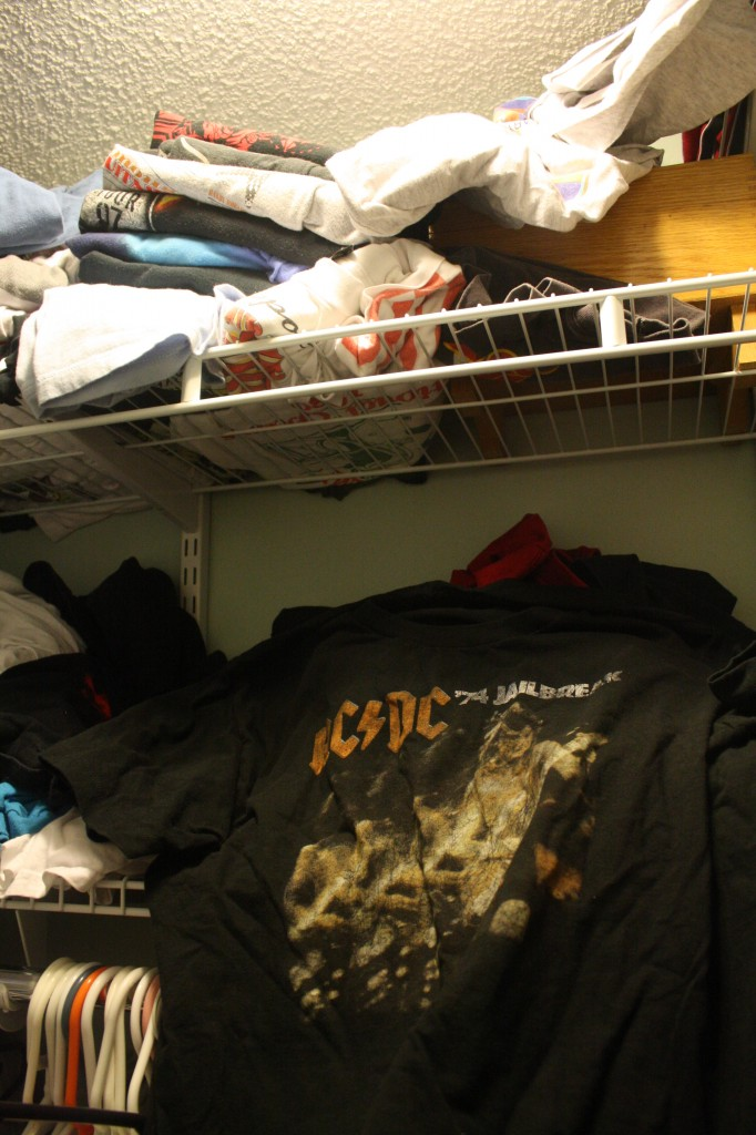 Piles and piles of concert shirts.