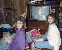 The year? 1990. Check out that old school TV with the big buttons! (Yes, we're watching Dirty Dancing.)