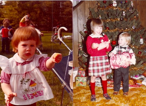 Me, first as a toddler, and then with my younger brother, during those fuzzy early childhood years.