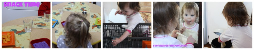 The children's snack and lunchtime routine: They serve themselves food, load their dishes in the dishwasher, wipe their faces in the mirror, and put their washcloths in the can.