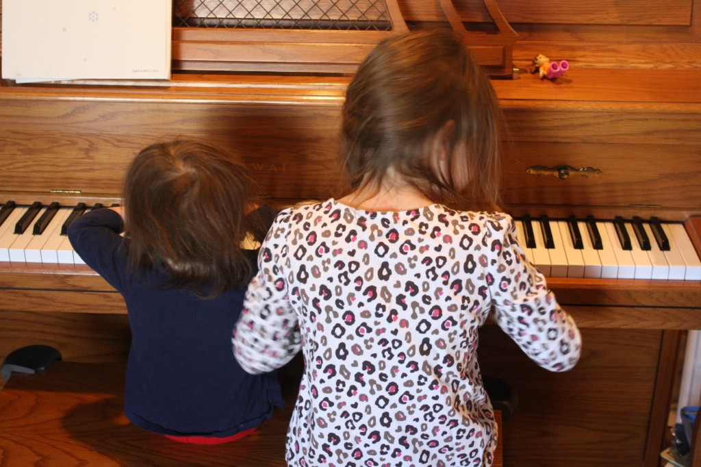 "My little performers during a piano ""recital"""