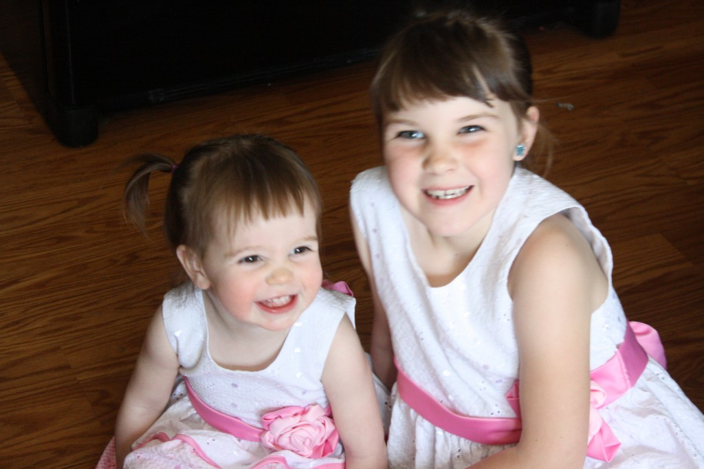Slightly unnecessary but super-cute picture of my girls in their matching dresses.