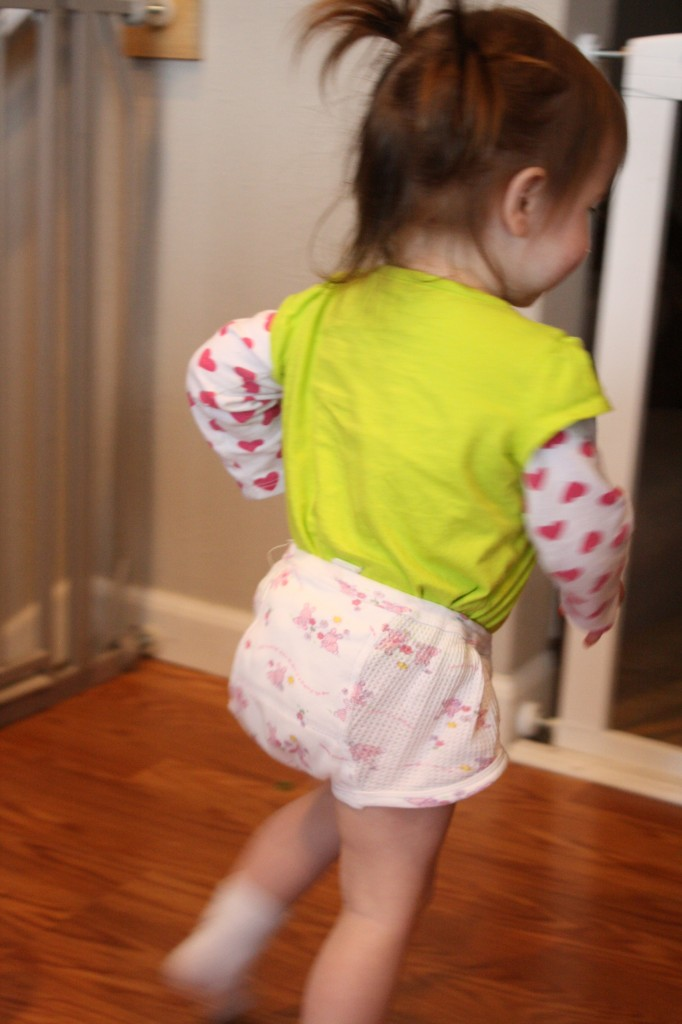Sophie sporting her big kid underwear. Notice how her shirt is tucked into them so they want fall off? Also, this photo was taken approximately 45 seconds prior to her urinating in said undies.