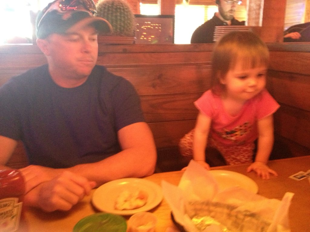A photographic example of our miserable dinner with a toddler on Mother's Day. Taken during the five minutes I was spared the experience of sitting next to her.