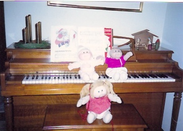 My Cabbage Patch dolls practiced piano for two hours a day.