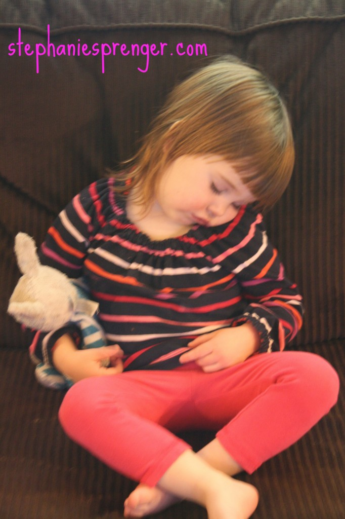 Poor Sophie fell asleep on the couch watching The Wiggles- unheard of!